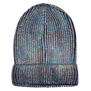 Ribbed Holographic Oil Slick Metallic Beanie